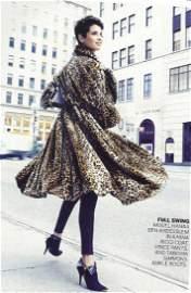 Nina Ricci Faux Fur Leopard Print Coat, Size 6/40.