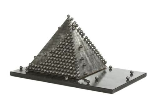 """Pyramid of Spheres"" sculpture by Virginio Ferrari"