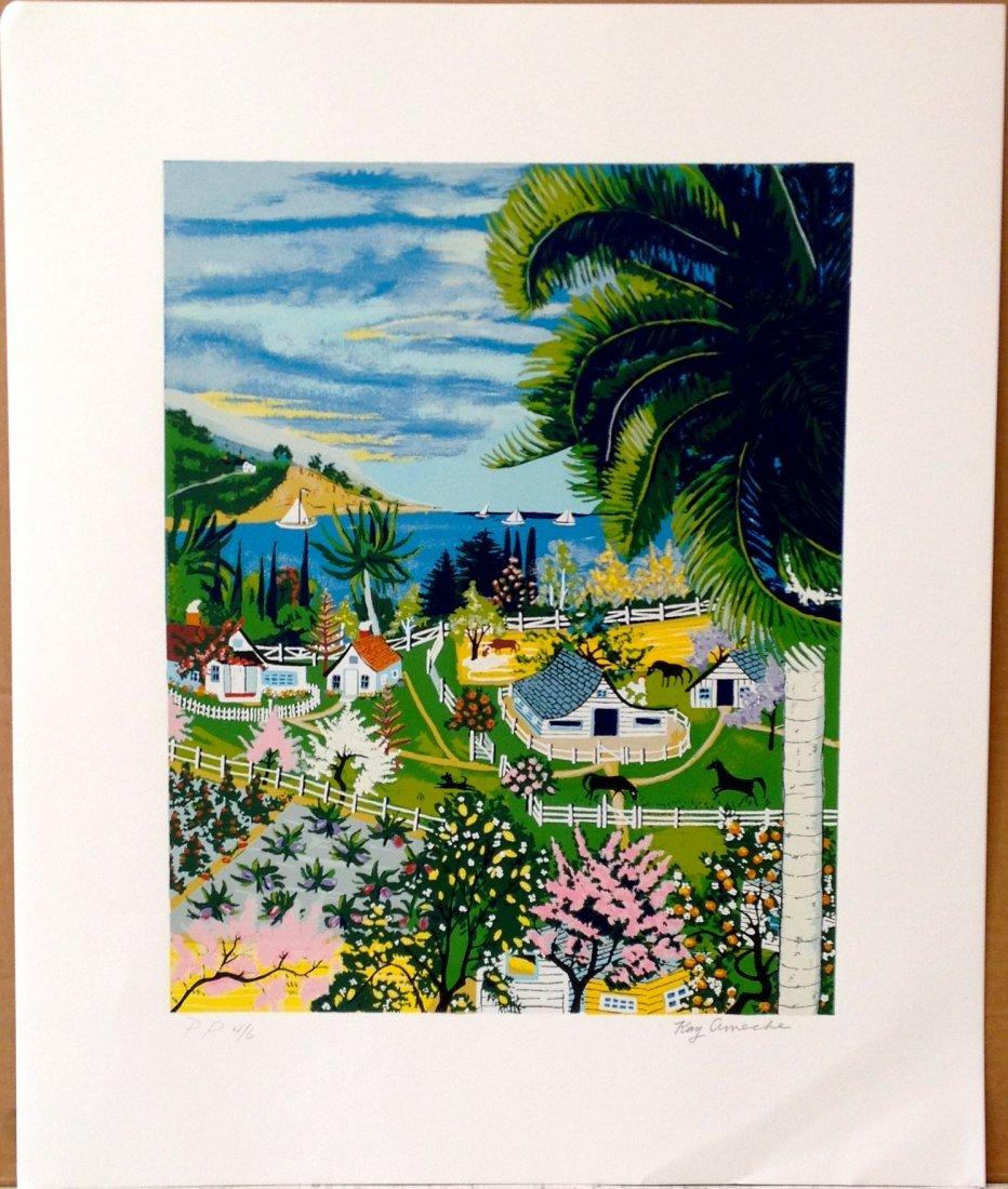 """""""Malibu, CA"""" serigraph by Kay Ameche"""