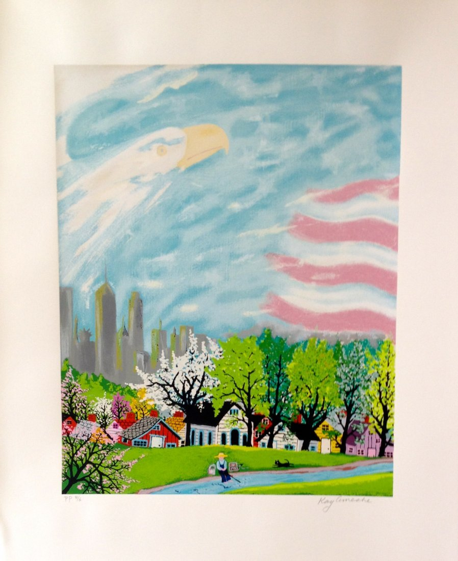 """""""America Light of the World"""" serigraph by Kay Ameche"""