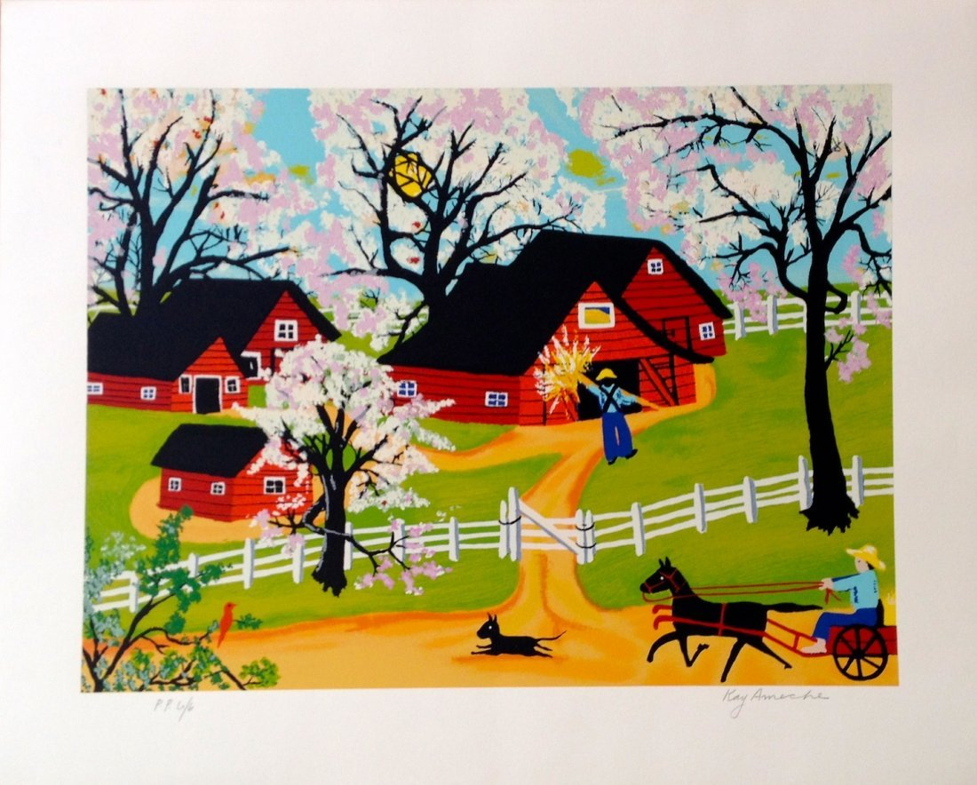 """""""Apple Blossom Time"""" serigraph by Kay Ameche"""