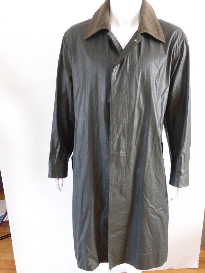 Dries Van Noten Dark Green Waxed Cotton Raincoat, Size