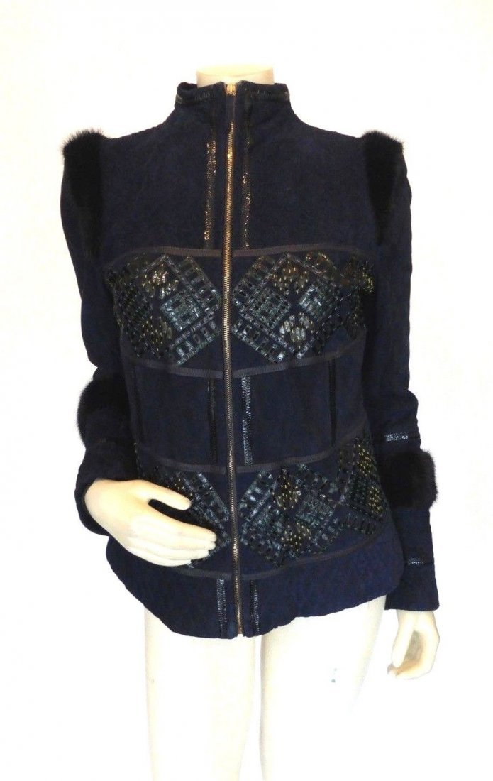 Roberto Cavalli Navy Suede Jacket, Size 8/44.