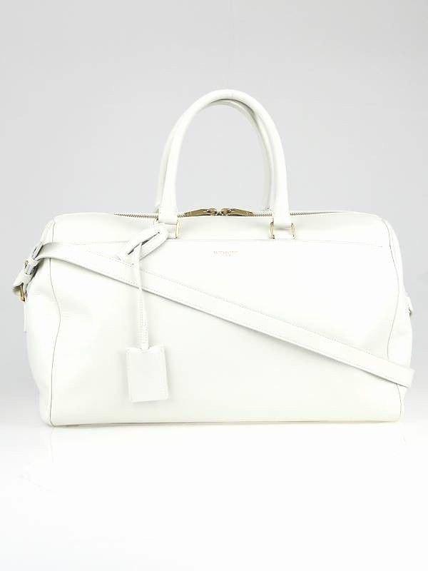 Yves Saint Laurent Dove White Calfskin Duffle/Handbag.