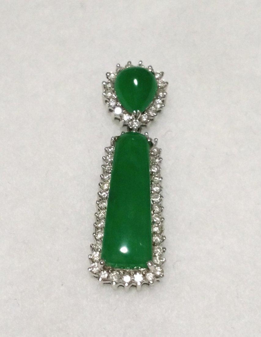GIA 18K WG Natural Apple Green Jadeite Diamond Pendant