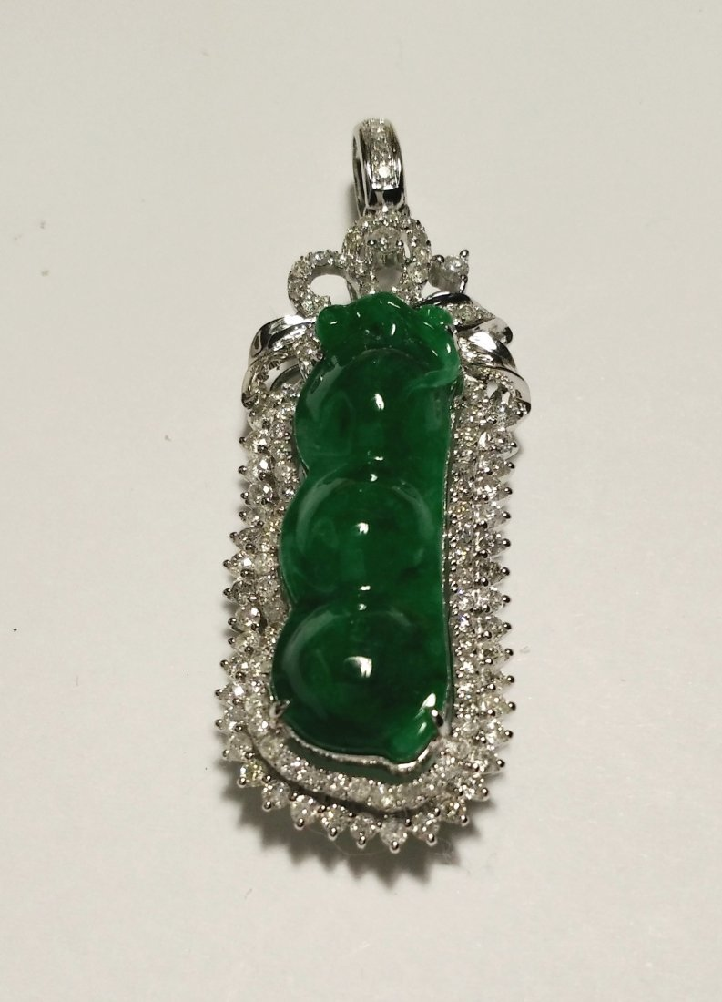 GIA 18K WG Natural Icy Green Jadeite Diamond Pendant