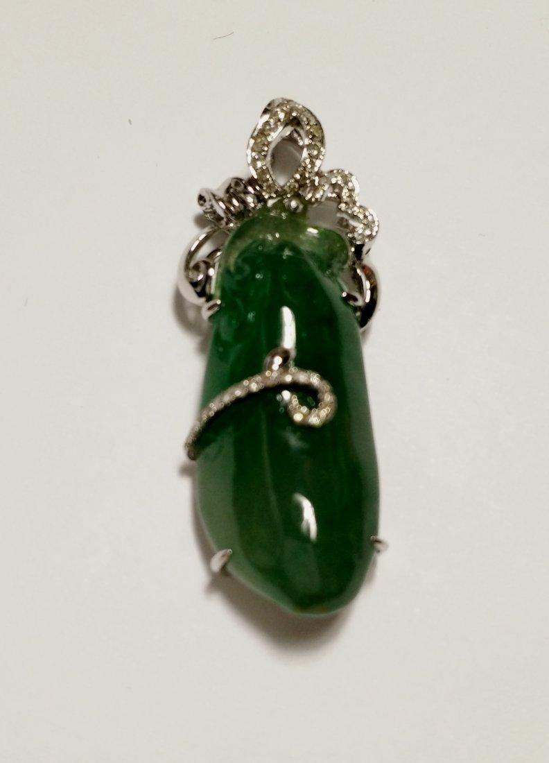 GIA 18K WG Natural Icy Green Jadeite Diamond Pendant