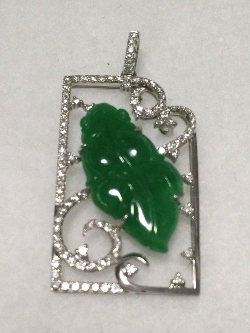 GIA 18K WG Natural Green Jadeite Leaf Diamond Pendant