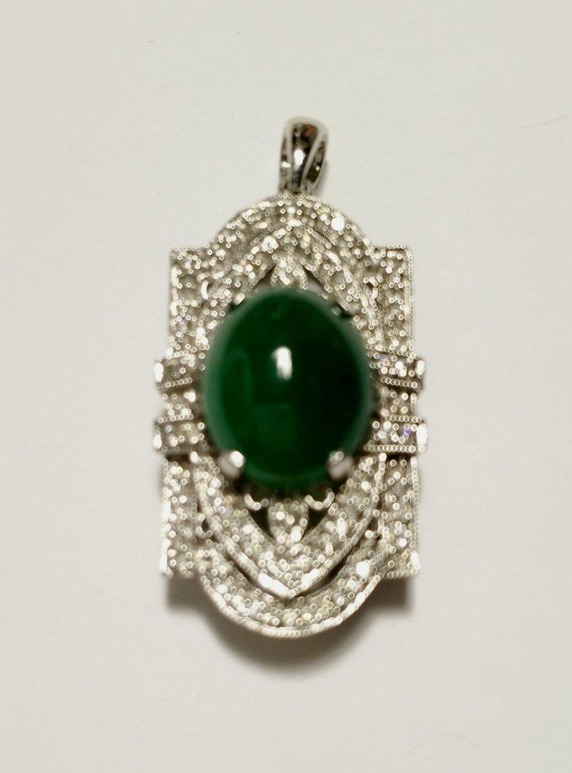 GIA 18K WG Natural Green Jadeite Diamond Pendant