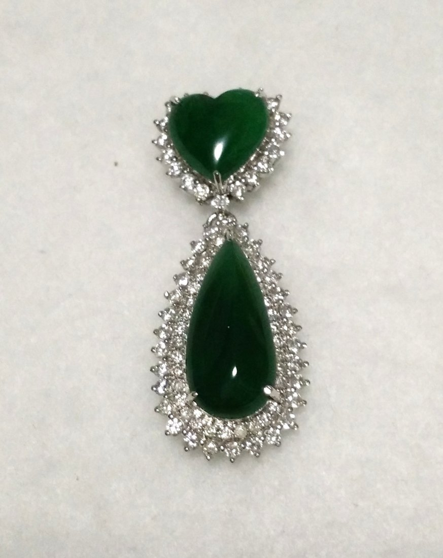 GIA 18K WG Natural Green Jadeite Diamond Pendant