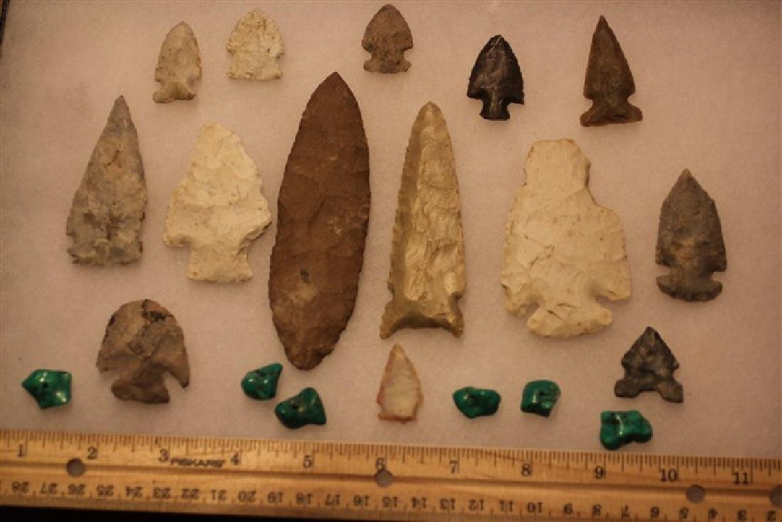 """(20) Longest=4 3/8"""" Indian artifacts, arrowheads and"""