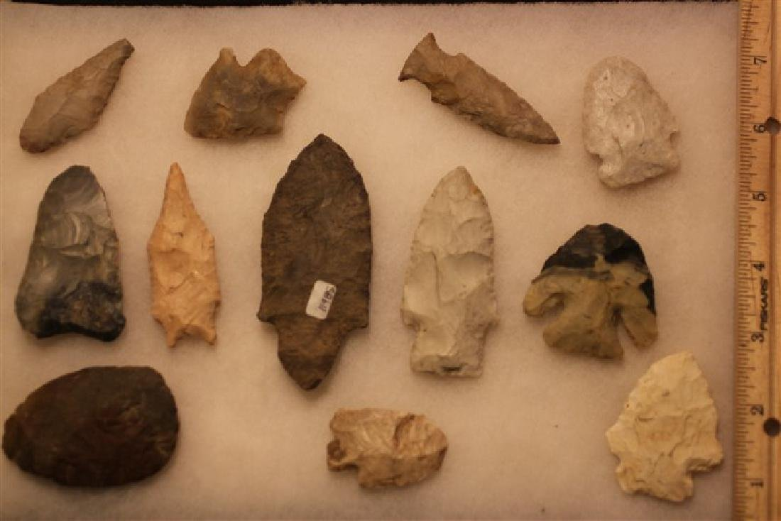 (12) Indian artifacts, arrowheads from miscellaneous
