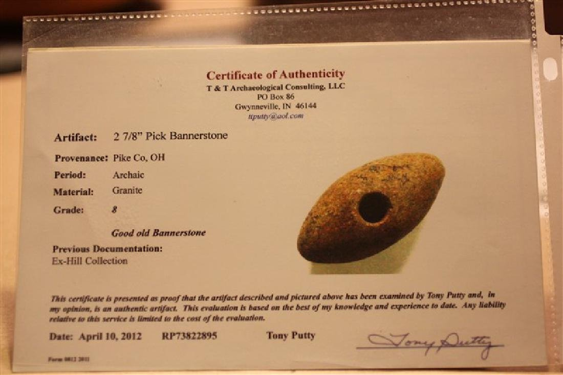 """2 13/16"""" L Bannerstone, Pike County, OH w/ 2 COA's - 3"""