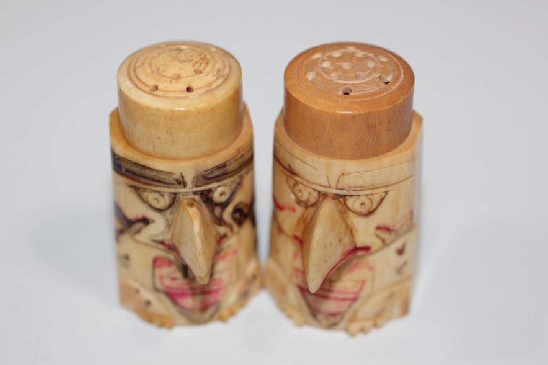 "2""H Salt & Pepper Shakers Carved by Eskimo out of"