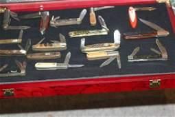 16 Misc Pocket Knives w/ Case
