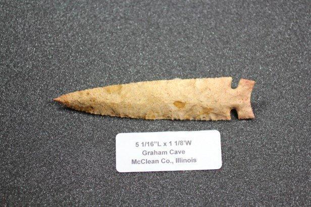 """5 1/16""""L x 1 1/8""""W Graham Cave, McClean Co., Illinois"""