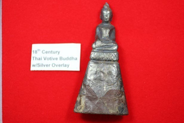 18th Century Thai Votive Buddha Statue w/Silver