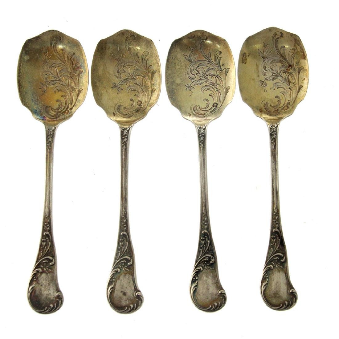 Four Sterling Silver Dessert Spoons, France, Circa