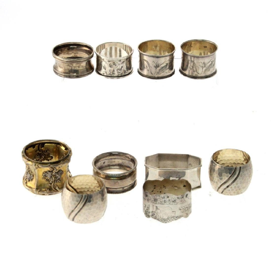 Collection of 10 Silver Napkin Rings.