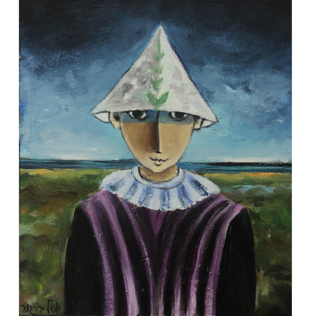 Yosl Bergner - Little Clown, Oil on Canvas.