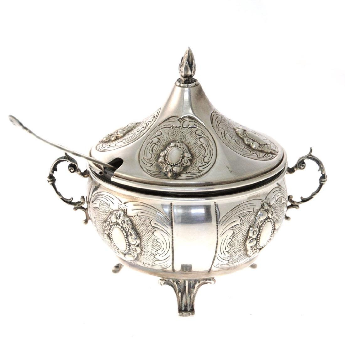 Hazorfim Sterling Silver Bowl with Cover and Spoon.