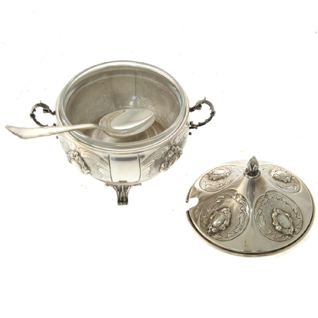 Hazorfim Sterling Silver Bowl with Cover and Spoon. - 3