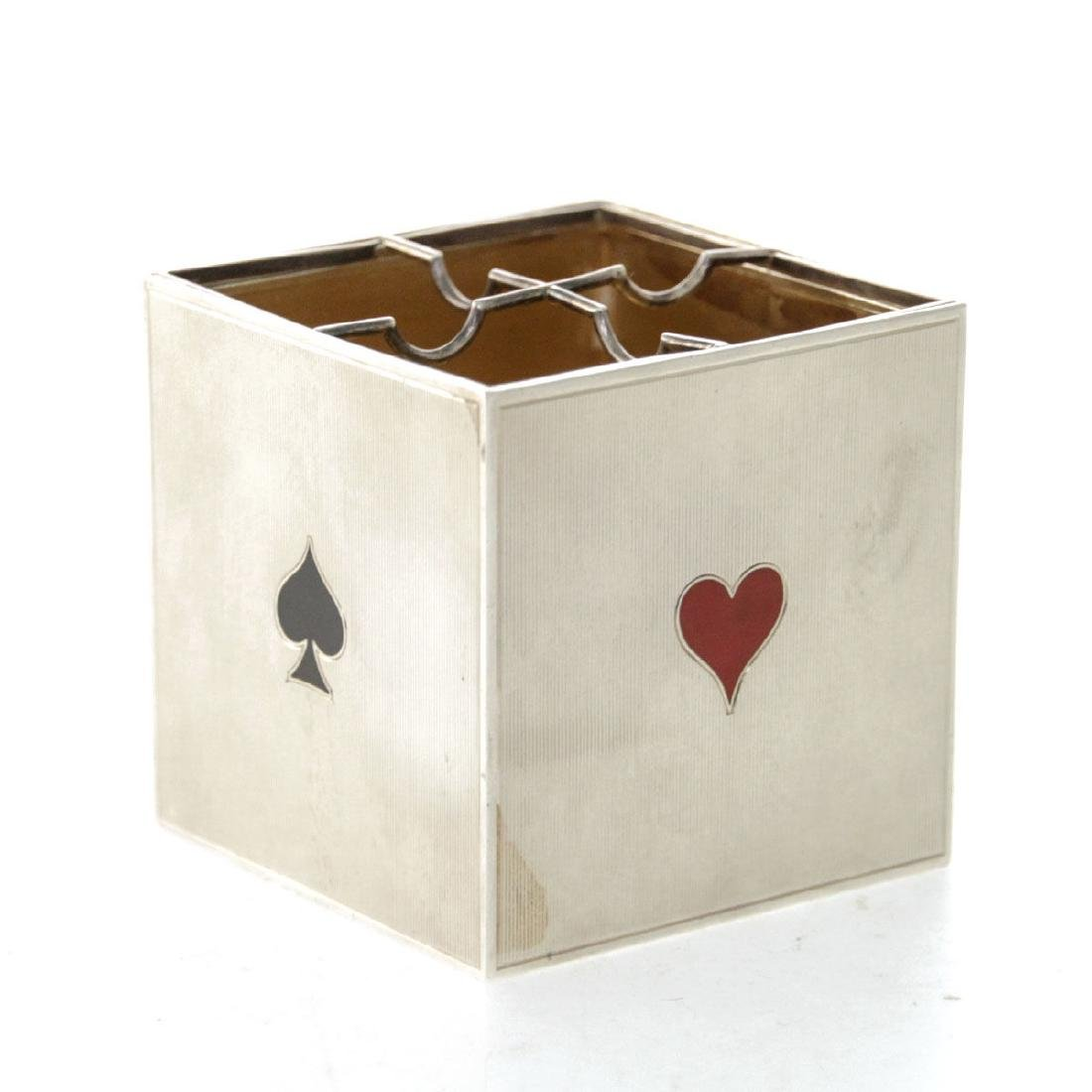 Cartier Sterling Silver and Enamel Playing Card Box /