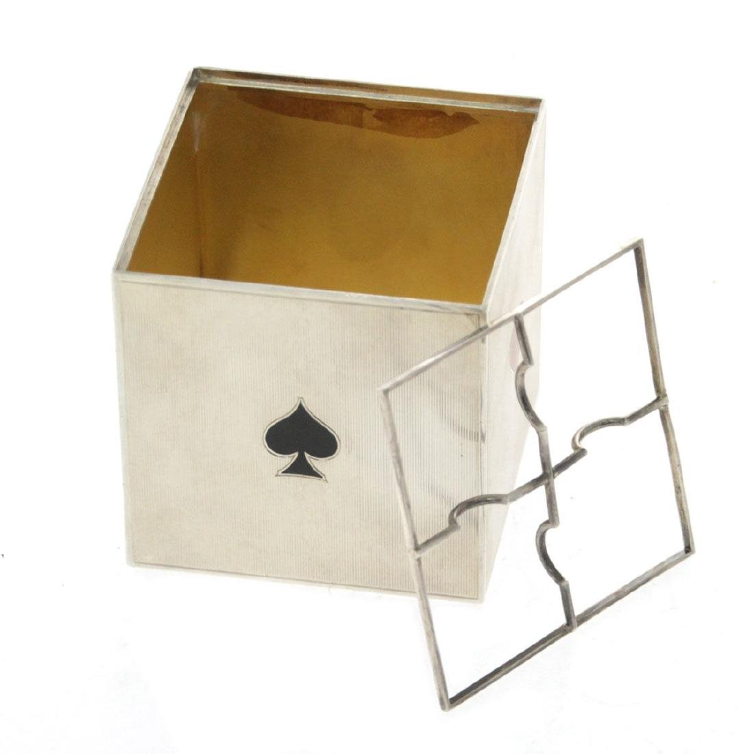 Cartier Sterling Silver and Enamel Playing Card Box / - 3