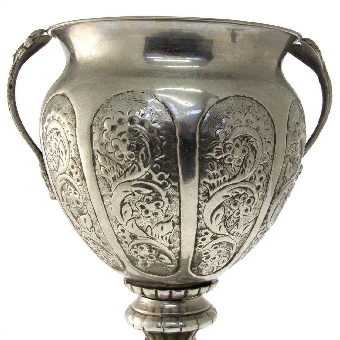 Large Oriental Silver Plated Trophy / Vase. - 2