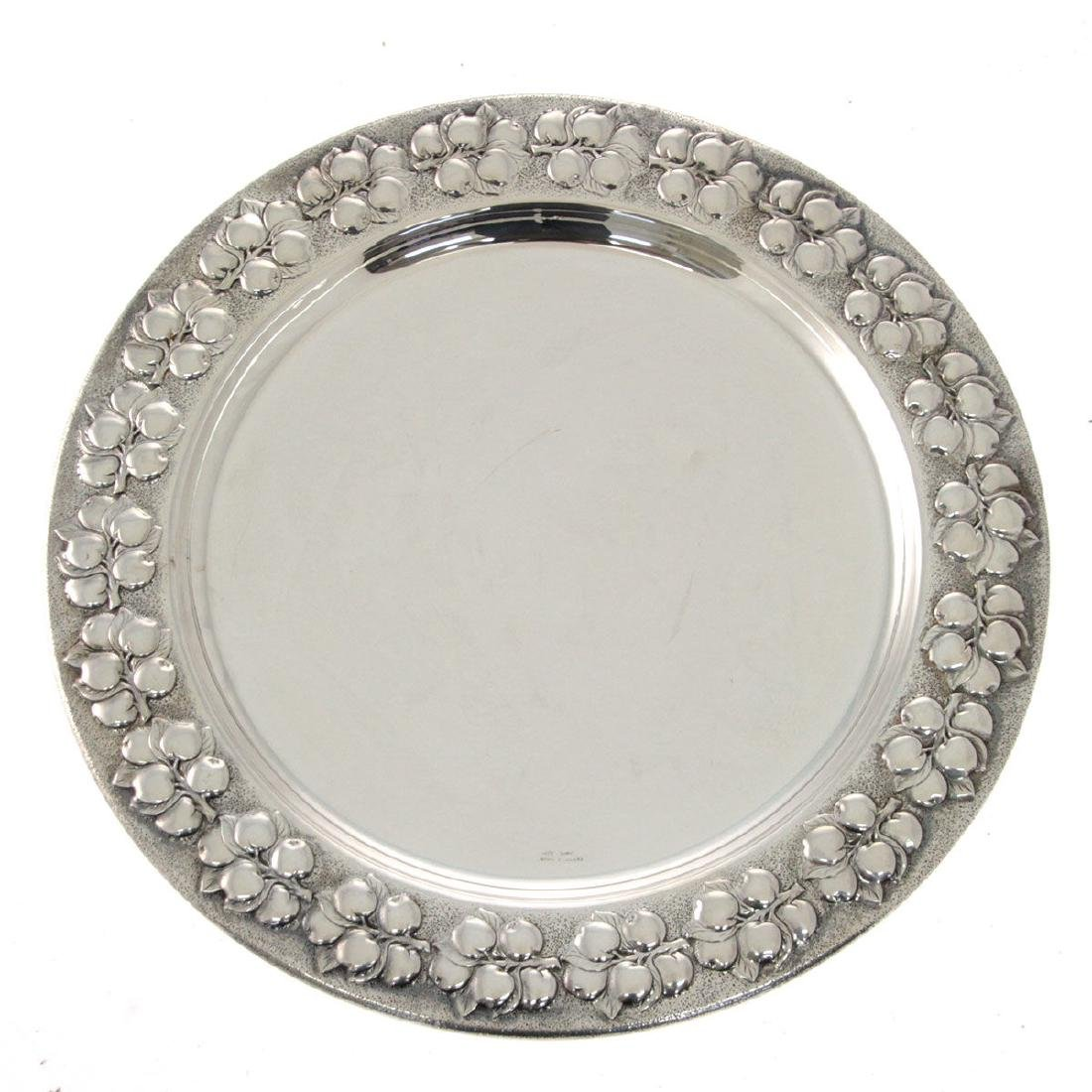 Italian Silver Tray, Florence, 1970s.