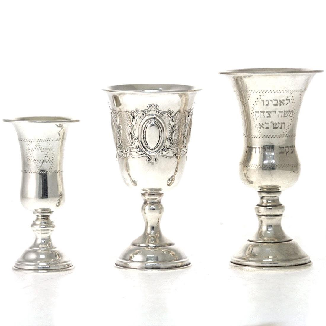 Three Sterling Silver Kiddush Cups Goblets, Judaica.