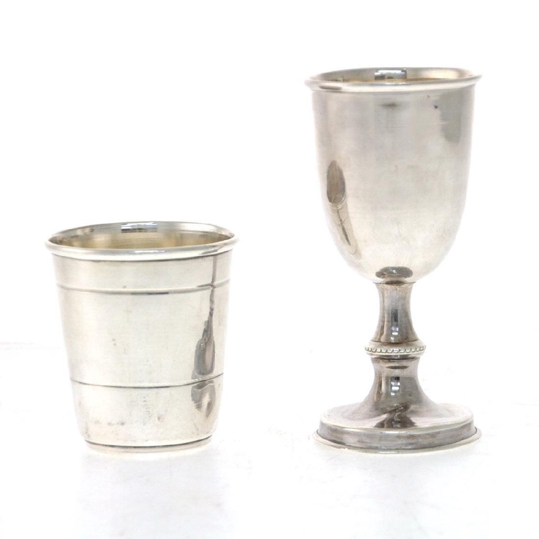 Two Sterling Silver Kiddush Cups, Aaron Taitelbaum,