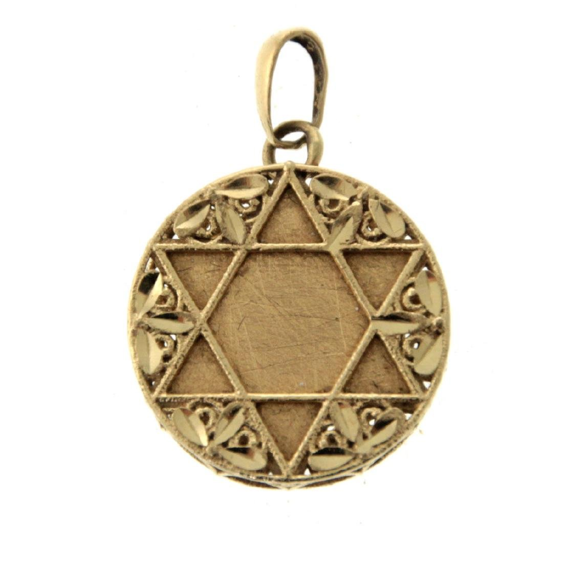 14k Yellow Gold Star of David Pendant, Judaica.