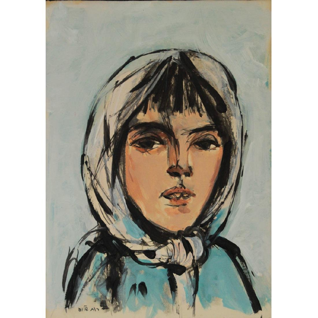 Ruth Schloss (1922-2013) - Woman, Oil on Paper Mounted