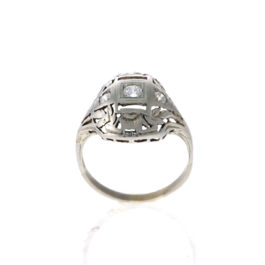 Art Deco 14k White Gold and Diamond Ring.