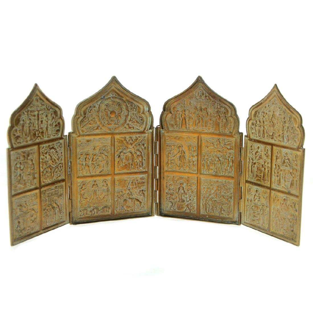 Russian Orthodox Brass Folding Four Panel Icon.