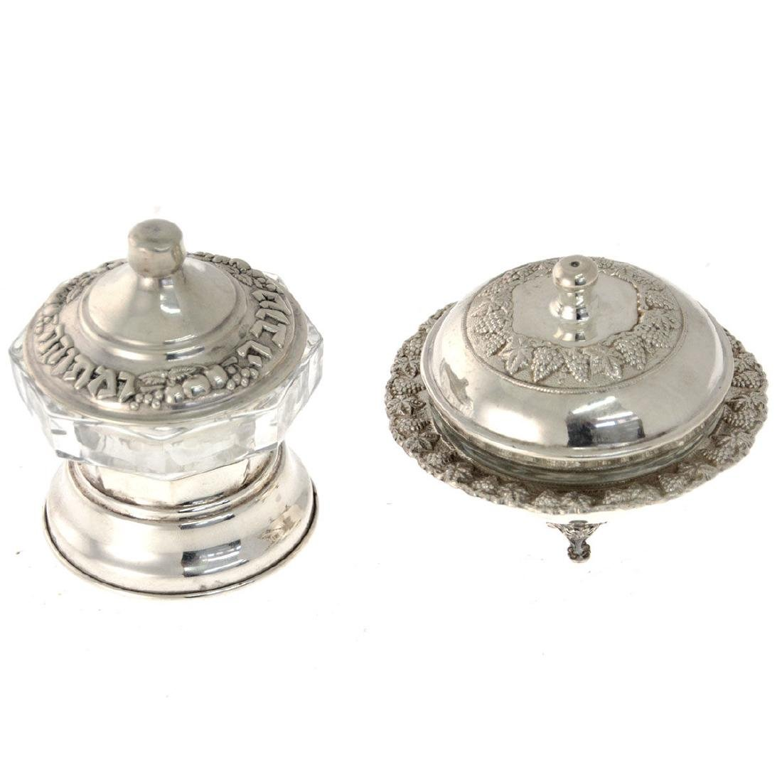 Two Sterling Silver Honey Dishes.