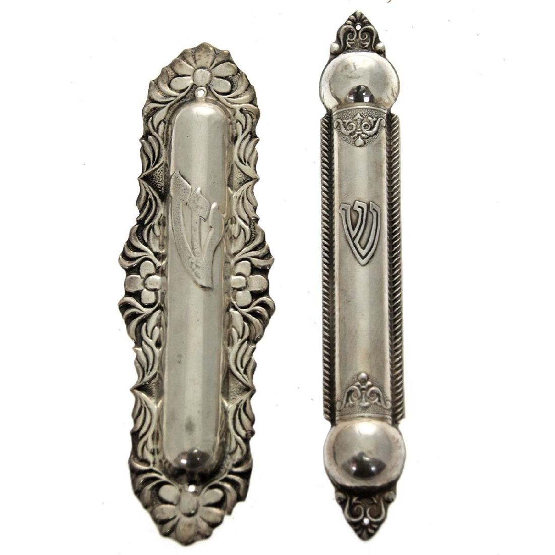 Two Sterling Silver Mezuzah Cases, Judaica.
