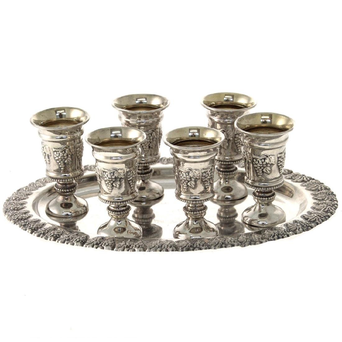Set of Six Sterling Silver Cups on Tray.