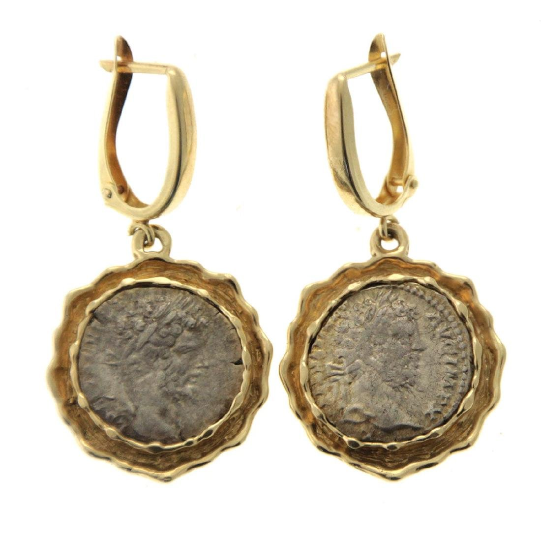 Pair of 14k Yellow Gold Earrings with Ancient Roman