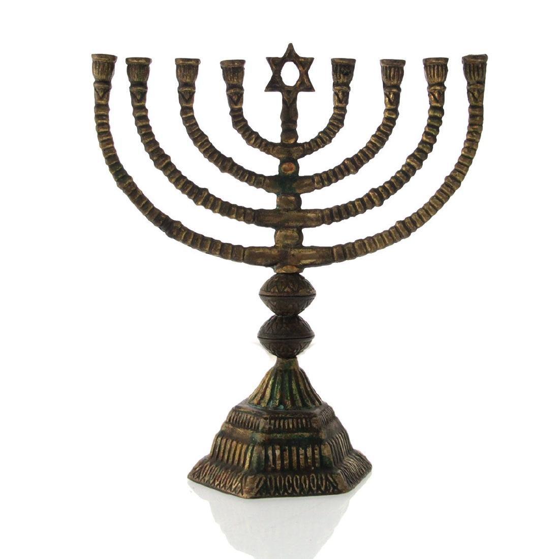 Old Brass Hanukkah Lamp Menorah.