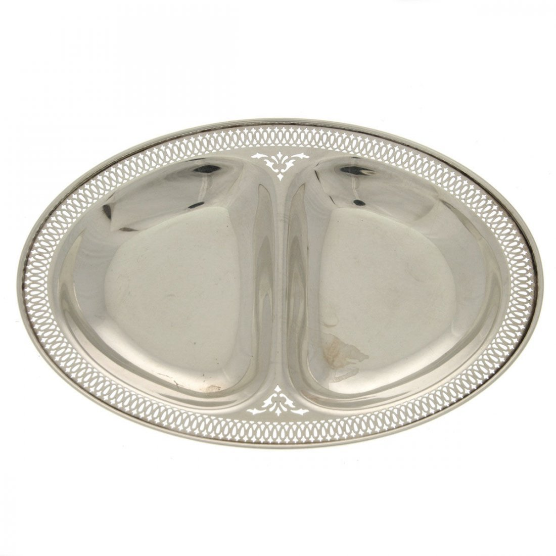 Whiting Sterling Silver Oval Double Dish, NY, 1915.