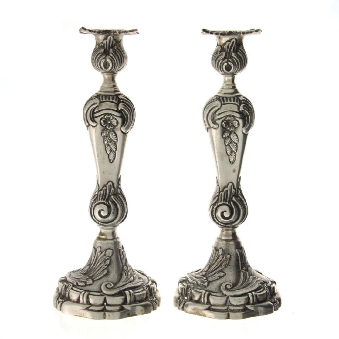 Pair of Massive Silver Candlesticks.