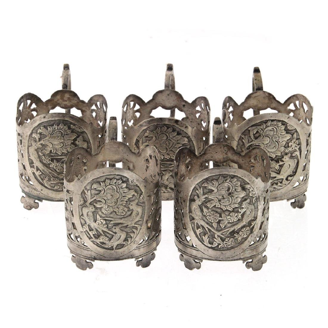 Set of Five Persian Silver Glass Holders, Circa 1900.