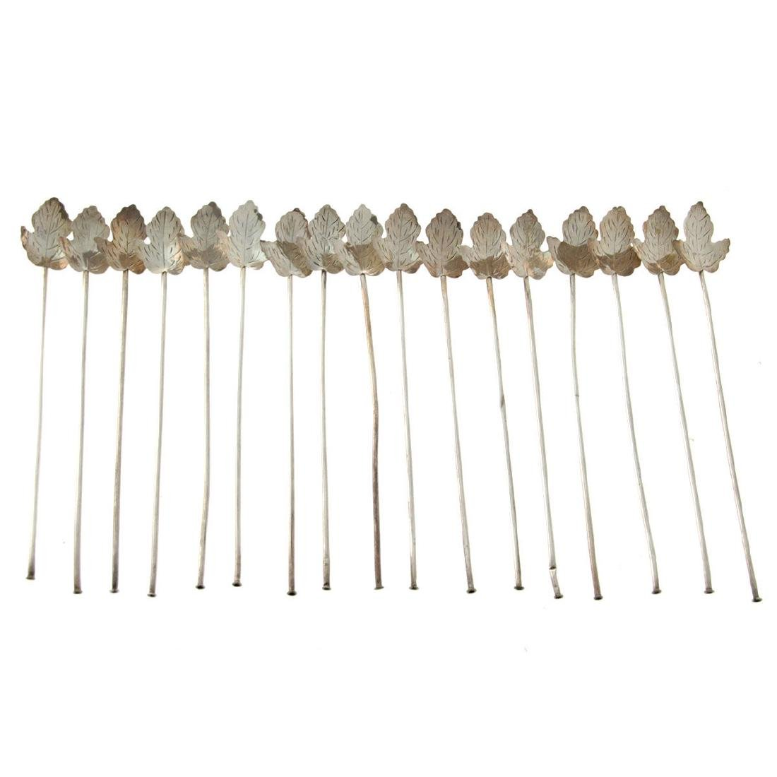 17 Mexican Sterling Silver Straws Stirrers.