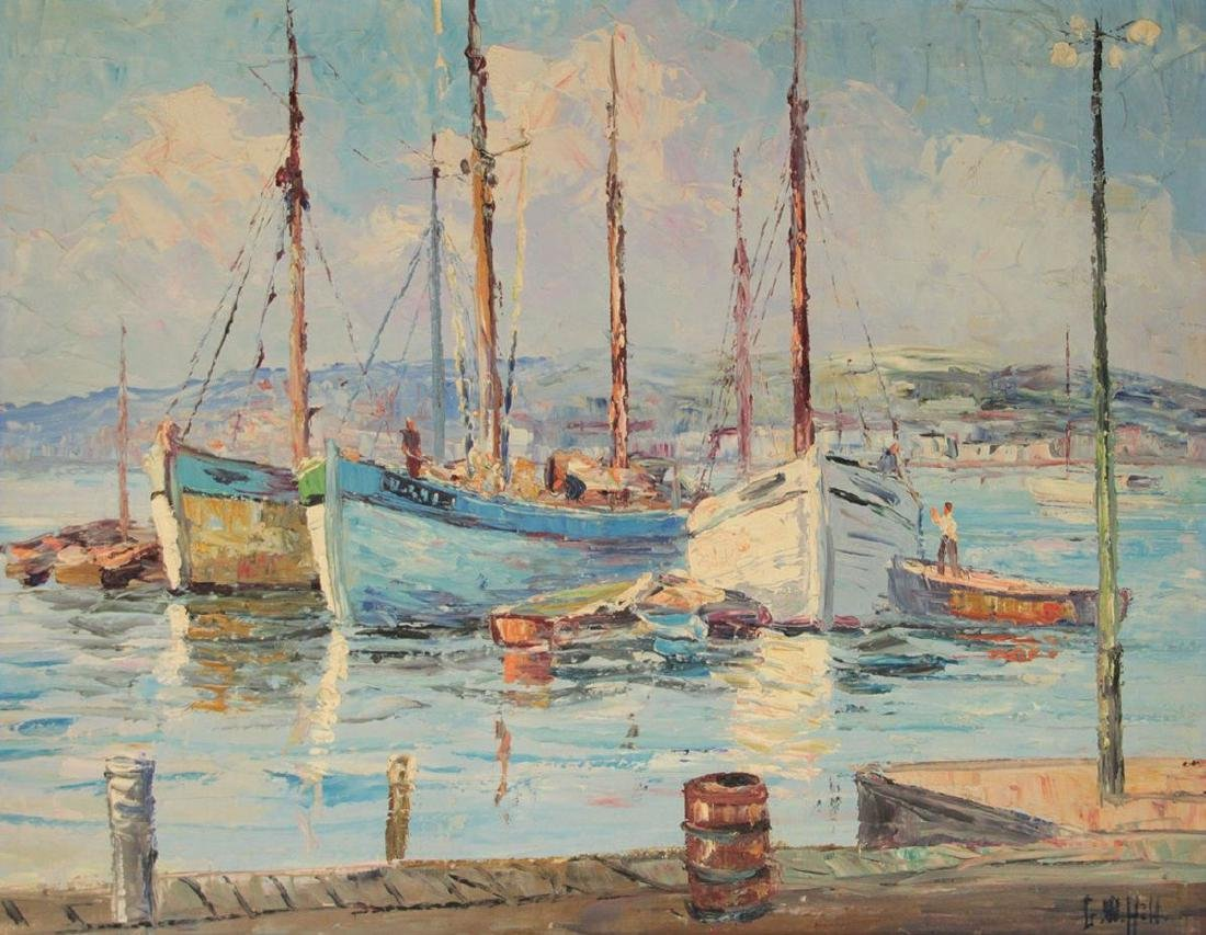 George William Hill (1862-1934) - Boats, Oil on Canvas.