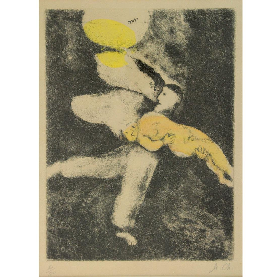Marc Chagall - God Creates Man, Hand colored Etching.