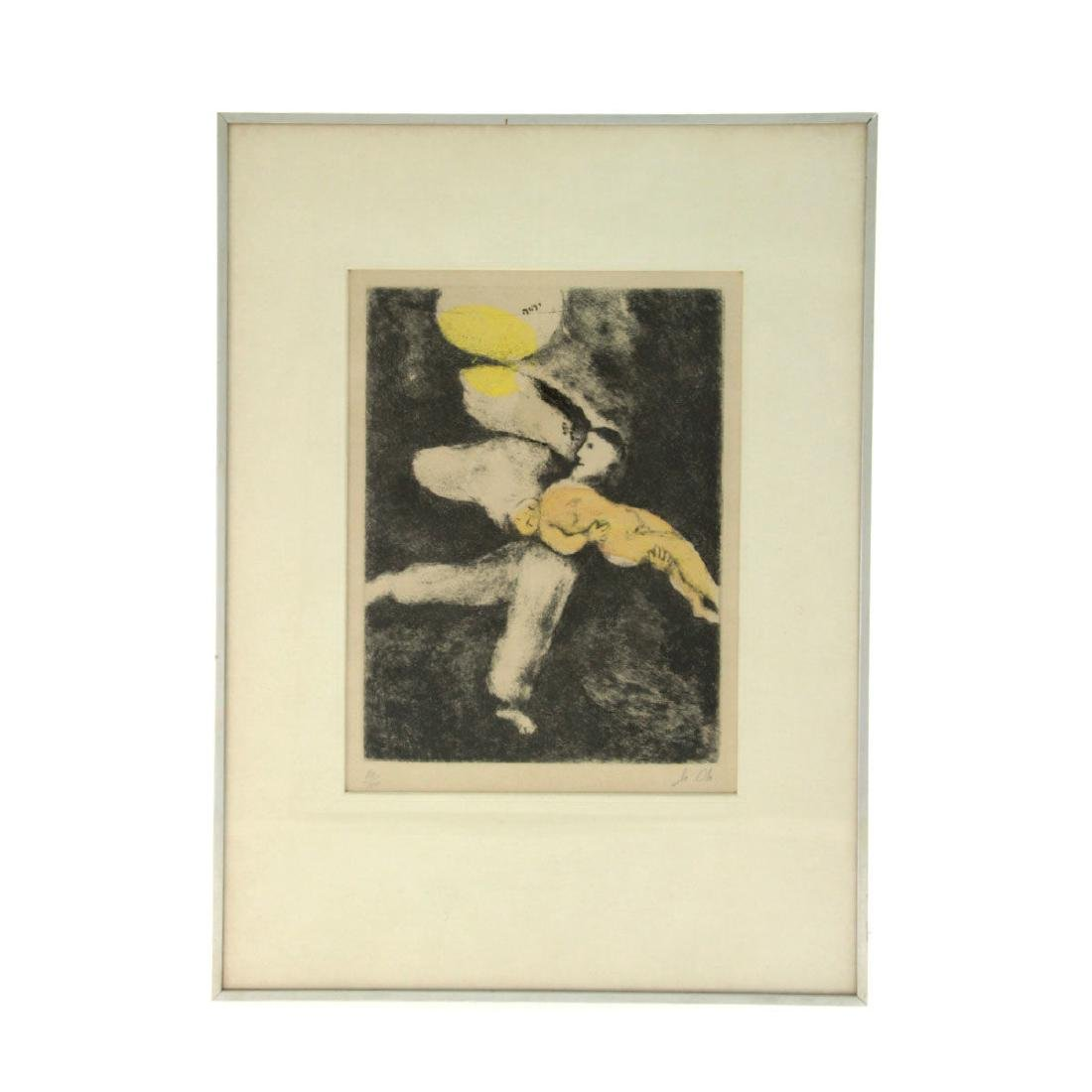 Marc Chagall - God Creates Man, Hand colored Etching. - 2