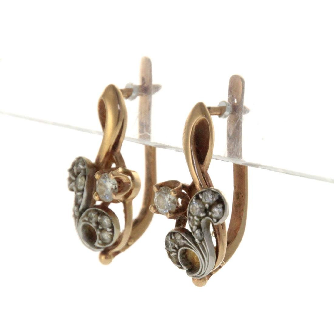 Pair of 14k Yellow Gold and Diamond Earrings. - 2