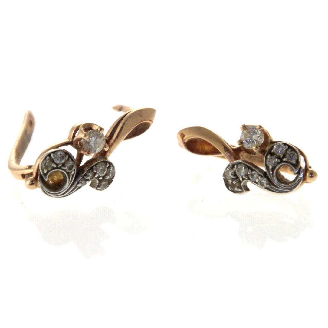Pair of 14k Yellow Gold and Diamond Earrings. - 4